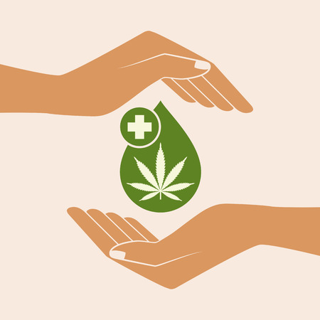 Hands holding oil drop with a marijuana leaf. Medical Cannabis oil. CBD oil cannabis extract. Natural Hemp oil. Icon product label and logo graphic template. Isolated vector illustration.