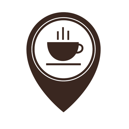 Map pointer with hot coffee cup icon isolated on white background. Food and drink pointer. Vector illustration Çizim