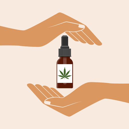 Hands holding Hemp oil in a bottle. Medical Cannabis oil. CBD oil cannabis extract. Natural Hemp oil. Icon product label and logo graphic template. Isolated vector illustration. Çizim
