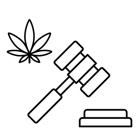 Marijuana and a judge gavel. Concept of marijuana legalization. Medical cannabis. Isolated vector illustration on white background. 版權商用圖片 - 126474110