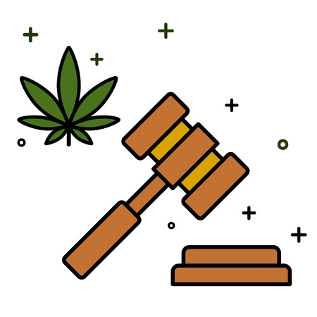 Marijuana and a judge gavel. Concept of marijuana legalization. Medical cannabis. Isolated vector illustration on white background. 版權商用圖片 - 126474112