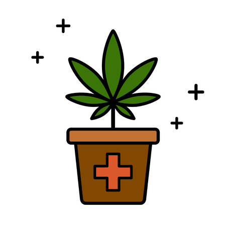 Cannabis plant in a flower pot. Medical marijuana. Isolated vector illustration on white background.