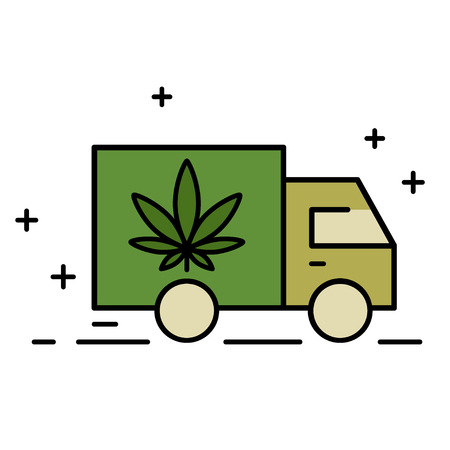Delivery cannabis. Illustration of a delivery truck icon with a marijuana leaf. Marijuana Legalization. Isolated vector illustration on white background. Çizim