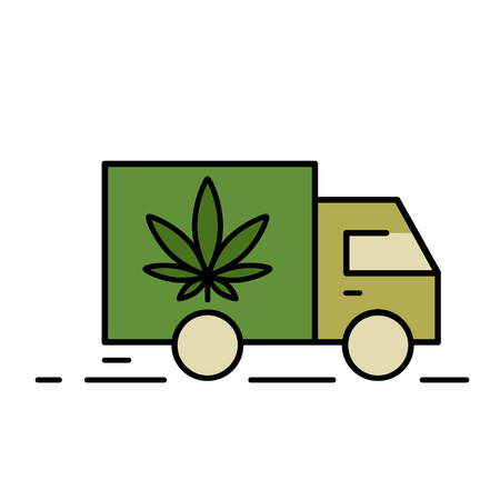 Delivery marijuana. Illustration of a delivery truck icon with a marijuana leaf. Drug consumption, marijuana use. Marijuana Legalization. Vector illustration on white background. Çizim