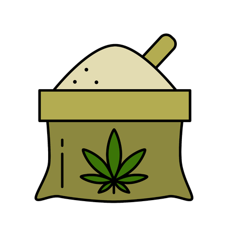 A bag of hemp flour with a leaf of marijuana. Isolated vector illustration on white background. 向量圖像