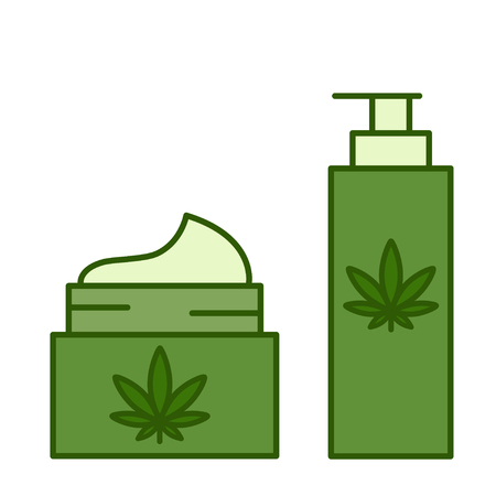 Marijuana, cannabis, hemp products. Healthy natural ecological cosmetics. Isolated vector illustration on white background.