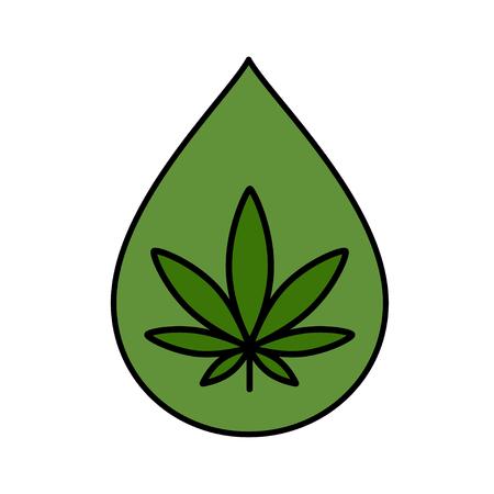 Hemp oil drop with marijuana leaf. CBD oil. Medical cannabis design template element. Isolated vector illustration on white background.