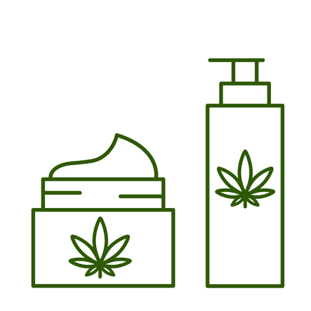 Cannabis, marijuana, hemp cosmetics. Healthy natural ecological products. Isolated vector illustration on white background. 向量圖像