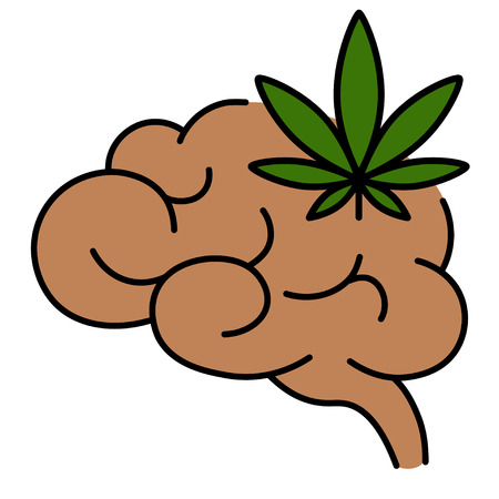 Cannabis leaf with human brain. Influence of smoking marijuana on human brain, nervous system, mental activity. Isolated vector illustration on white background.