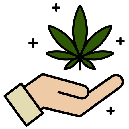 Cannabis, marijuana leaf in hand icon. Icon product label and graphic template. Isolated vector illustration on white background.