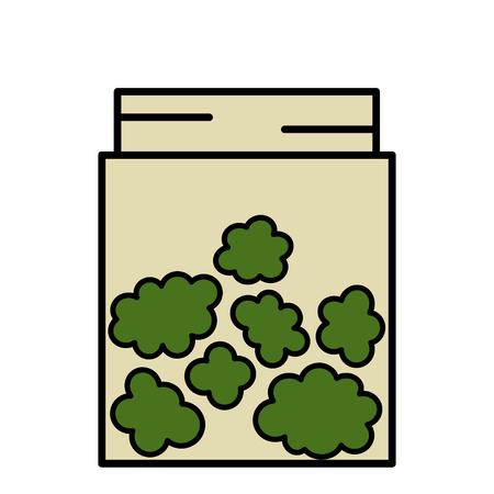 Marijuana Buds in Glass Jar Stack. Isolated vector illustration on white background. 向量圖像