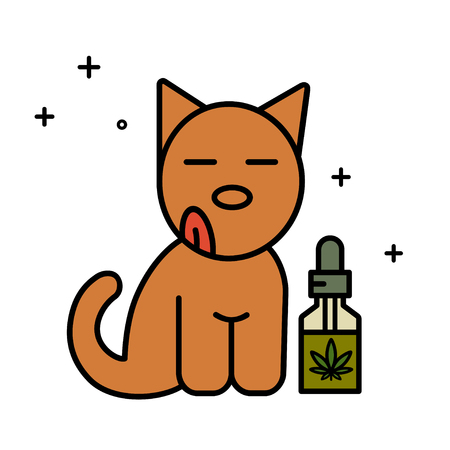 Dog and CBD oil. Medical cannabis for pets concept. Isolated vector illustration on white background.
