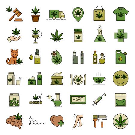 Icone di cannabis. Set di icone di marijuana medica. Consumo di droga. Legalizzazione della marijuana. Illustrazione vettoriale isolato su sfondo bianco. Vettoriali