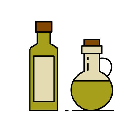 Glass bottle with oil. Isolated vector illustration on white background.