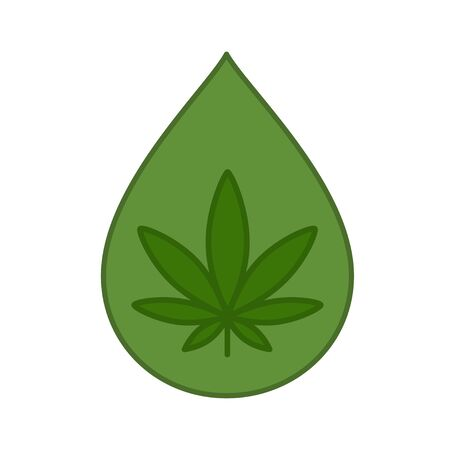 Hemp oil drop with marijuana leaf. CBD oil. Medical cannabis design template element. Isolated vector illustration on white background.