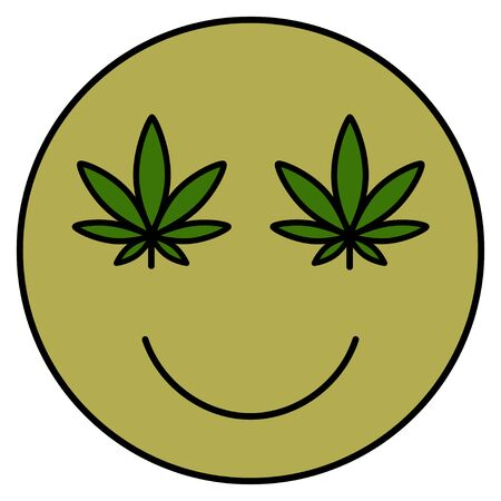 Cannabis smile. Smiling face. Drug consumption, marijuana use. Marijuana Legalization. Medical cannabis. Health and Medical therapy. Isolated vector illustration on white background.