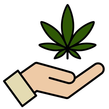 Marijuana in the hand. Icon product label graphic template. Isolated vector illustration on white background.