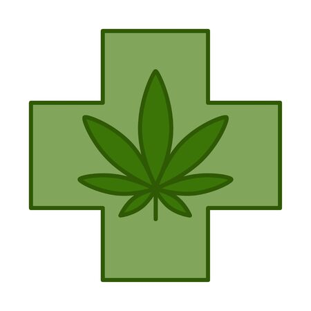 Medical cross with cannabis leaf. Medical marijuana design template element. Isolated vector illustration on white background.