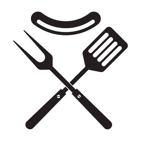 BBQ or grill tools icon. Crossed barbecue fork and spatula with sausage. Symbol template. Isolated vector illustration on white background. 向量圖像