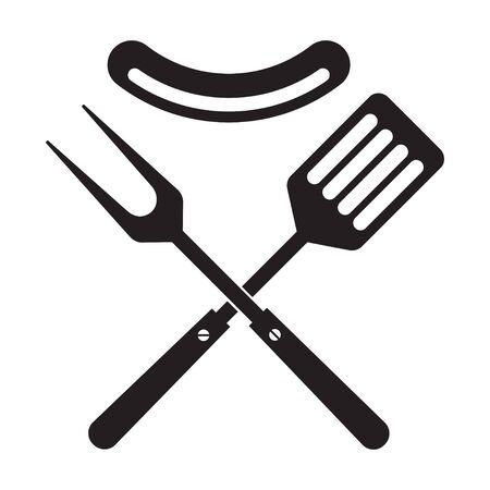 Icône d'outils de barbecue ou de gril. Fourchette à barbecue croisée et spatule à saucisse. Modèle de symbole. Illustration vectorielle isolé sur fond blanc. Vecteurs