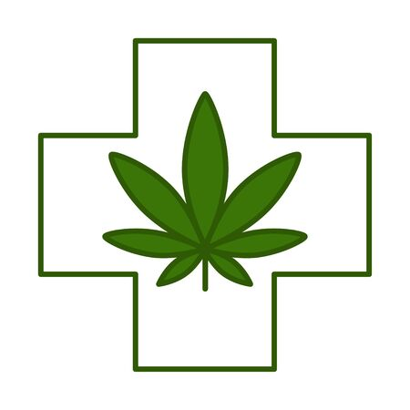 Medical cross with cannabis leaf. Healthcare and medicinal icon. Isolated vector illustration on white background.