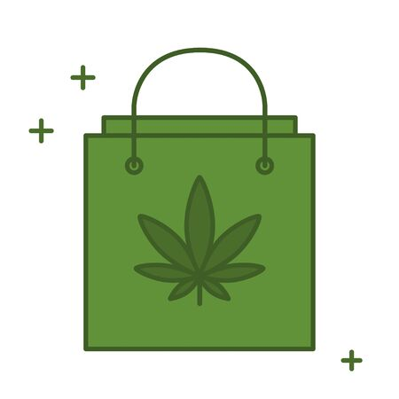 Shopping bag with marijuana leaf. Buying Cannabis. Delivery cannabis. Marijuana Legalization. Isolated vector illustration on white background. Illustration