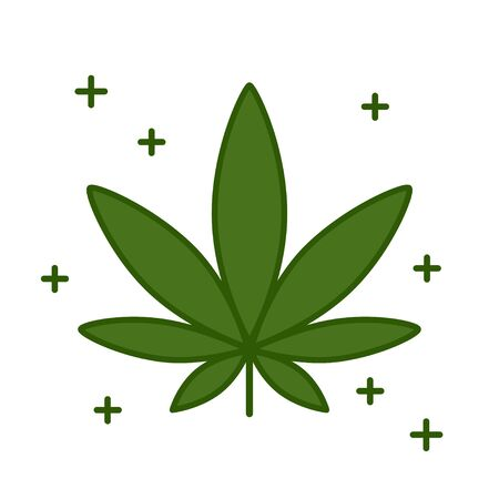 Cannabis leaf. Medical marijuana icon design template element. Isolated vector illustration on white background.