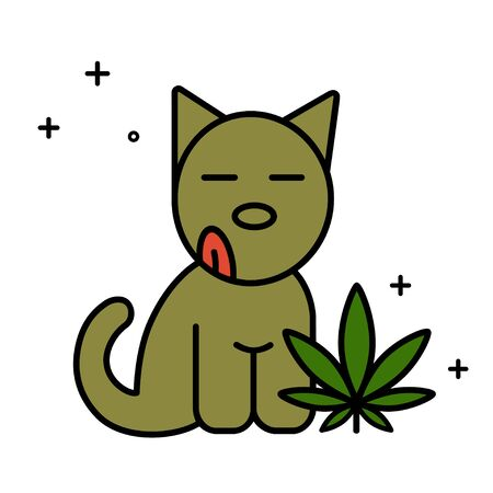 Dog and marijuana leaf. Medical cannabis for pets concept. Isolated vector illustration on white background.