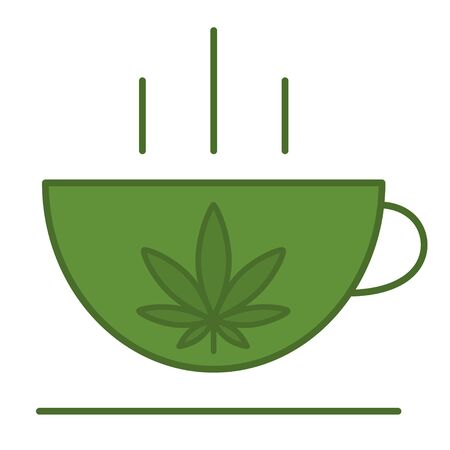 A cup with a leaf of marijuana. Medical cannabis icon design template element. Isolated vector illustration on white background.