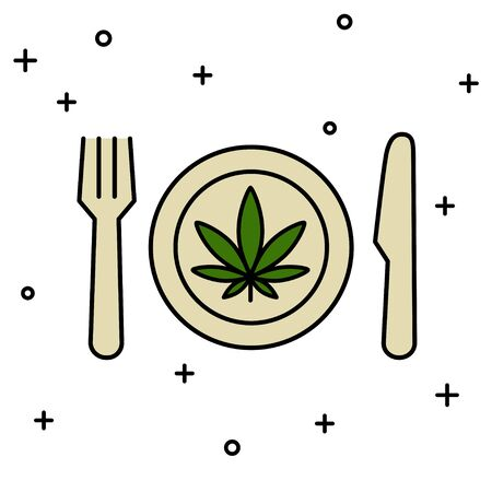 Marijuana leaf on the plate with knife and fork. Cannabis food. Isolated vector illustration on white background.  イラスト・ベクター素材