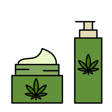 Cannabis, marijuana, hemp cosmetics. Healthy natural ecological products. Isolated vector illustration on white background.  イラスト・ベクター素材