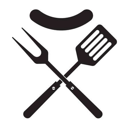 BBQ or grill tools icon. Crossed barbecue fork and spatula with sausage.