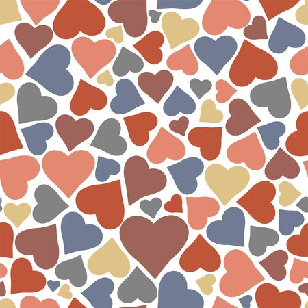 Beautiful seamless vector pattern with hearts. Isolated vector illustration.