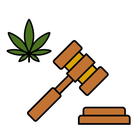 Cannabis leaf and a judge gavel. Concept of marijuana legalization. Medical cannabis. Isolated vector illustration on white background.