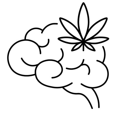 Cannabis, marijuana or weed and brain. Influence of smoking marijuana on human brain, nervous system, mental activity. Isolated vector illustration on white background.