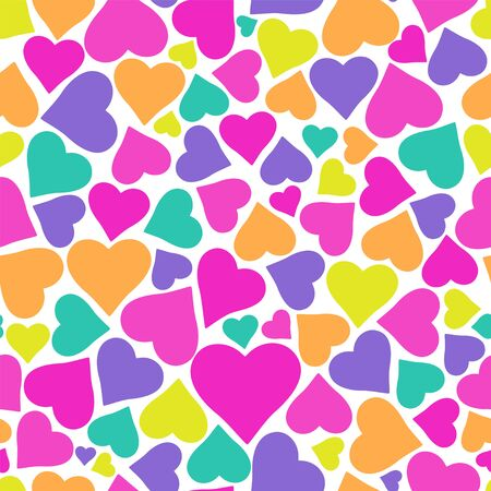 Holiday background pattern with beautiful colorful hearts.