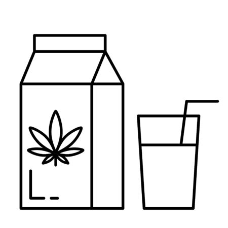 Hemp milk. Isolated vector illustration on white background.  イラスト・ベクター素材