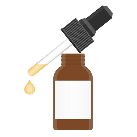 A glass bottle with a pipette with serum yellow. Isolated vector illustration on white background. 版權商用圖片 - 126474141