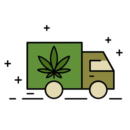 Delivery cannabis. Illustration of a delivery truck icon with a marijuana leaf. Drug consumption, marijuana use. Marijuana Legalization. Isolated vector illustration on white background. 向量圖像