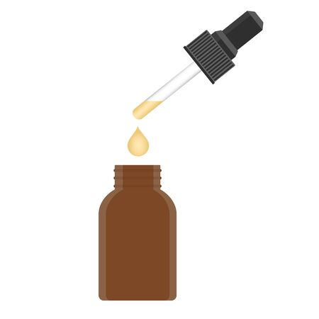 A glass bottle with a pipette with serum yellow. Isolated vector illustration on white background.