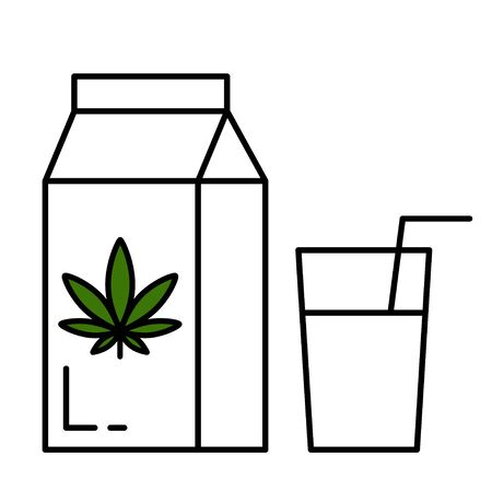 Carton pack and glass of hemp milk. Isolated vector illustration on white background.