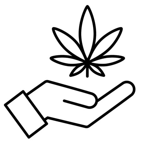 Marijuana in the hand. Icon product label and logo graphic template. Isolated vector illustration on white background.  イラスト・ベクター素材
