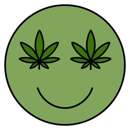 Marijuana smile. Smiling face. Drug consumption, cannabis use. Marijuana Legalization. Medical cannabis. Health and Medical therapy. Isolated vector illustration on white background.