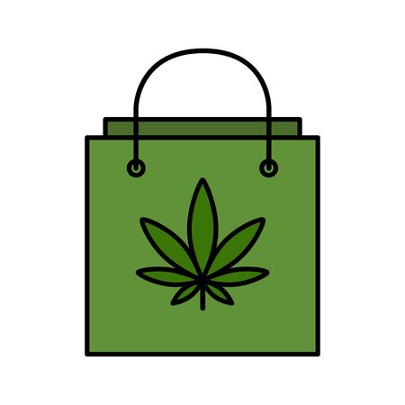 Shopping bag with marijuana leaf. Buying Cannabis. Delivery cannabis. Isolated vector illustration on white background.