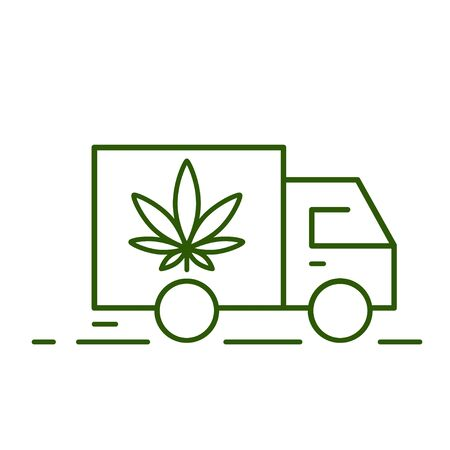 Delivery marijuana. Illustration of a delivery truck icon with a marijuana leaf. Drug consumption, marijuana use. Marijuana Legalization. Vector illustration on white background. Ilustração