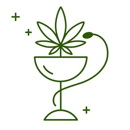 Snake and bowl medical icon. Marijuana Pharmacy. Health and Medical therapy. Isolated vector illustration on white background.  イラスト・ベクター素材
