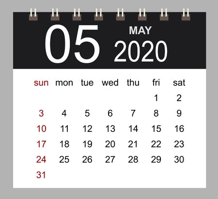 Business calendar 2020 of May. Notebook isolated page. Week starts Sunday. Vector illustration.