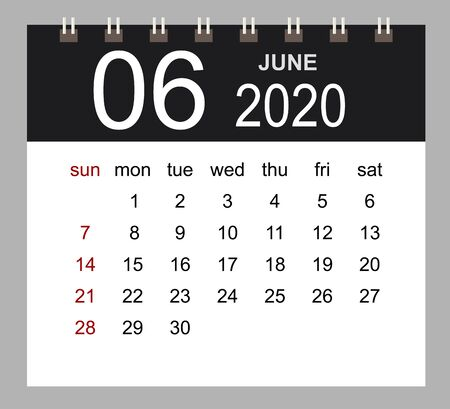 Business calendar 2020 of June. Notebook isolated page. Week starts Sunday. Vector illustration. 向量圖像