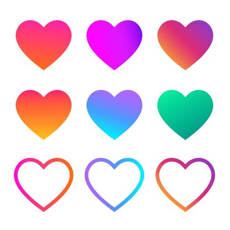 Collection of heart illustrations, Love symbol icon set. Trendy multicolor icon. Vector gradient fresh color set. Isolated illustration on white background.