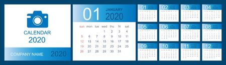 Calendar 2020. Desk calendar template. Set of 12 months, planner, week starts on sunday. Vector illustration